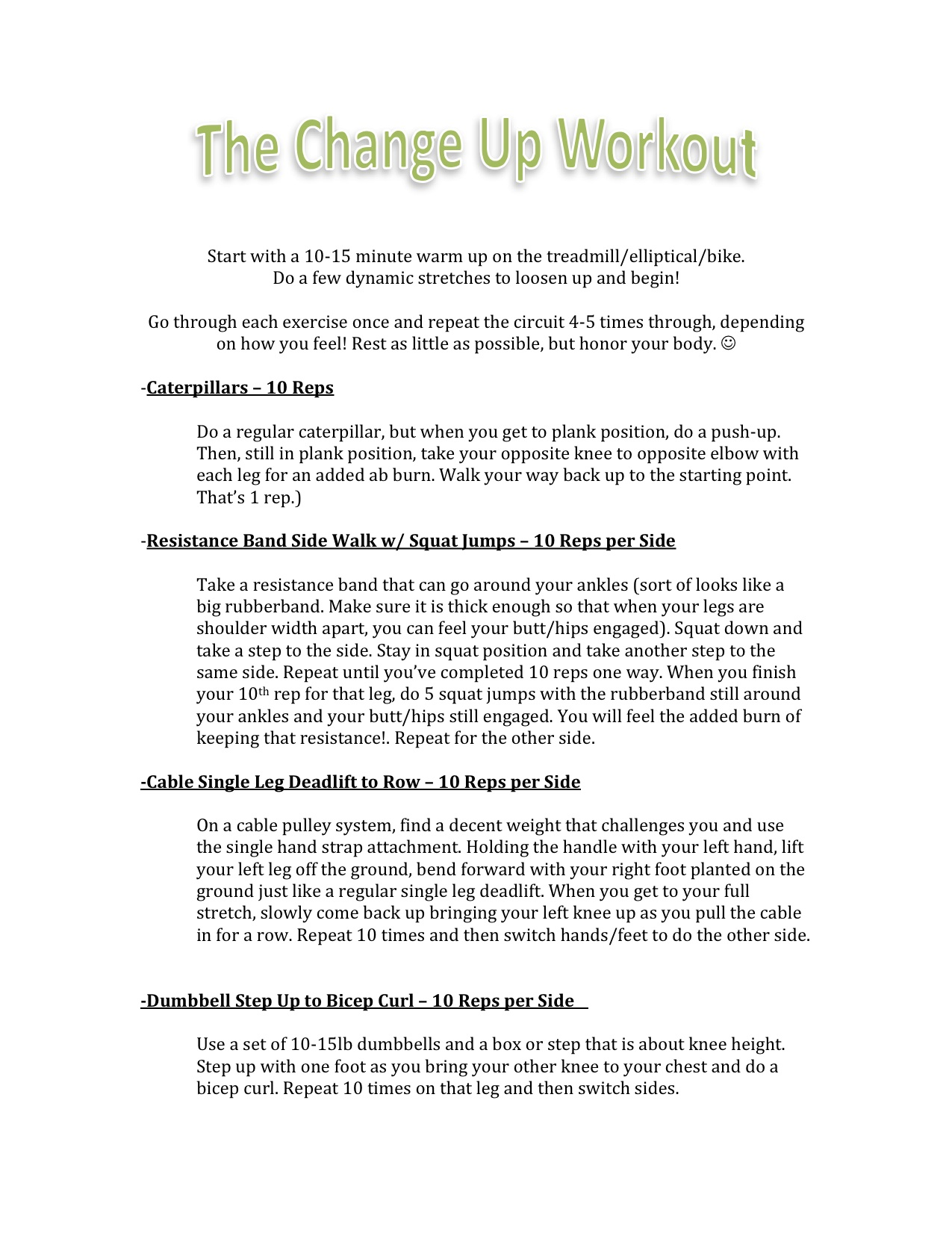 Change Up Workout