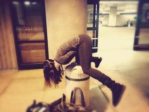 Practicing Yoga...err something..