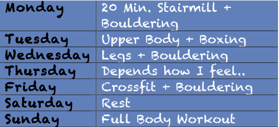 Week of Workouts